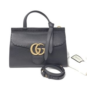 Auth Gucci Marmont Small Top Handle BlackBrand New